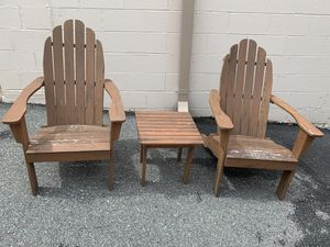 Sturdy wooden Adirondack chairs and table for Sale in Rockville, MD