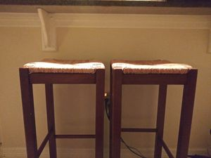 2 Bar Stools with woven wicker seat for Sale in Tampa, FL