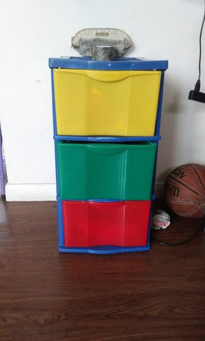 homemade vanity / colorful plastic darwers for Sale in San Antonio, TX