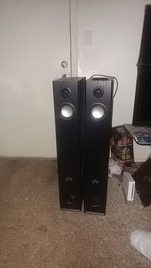 VM audio Bluetooth tower pair speakers SD card slot for Sale in Abilene, TX