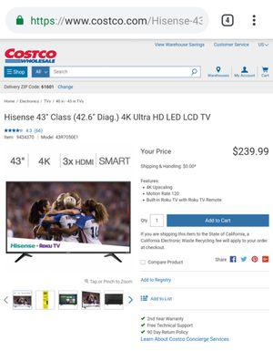 Hisense 43inch 4K Ultra HD LED smart TV for Sale in Peoria, IL