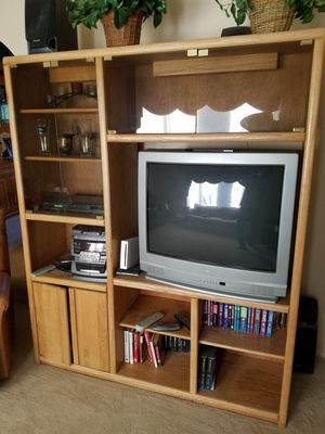 Wood TV entertainment center for Sale in Tacoma, WA