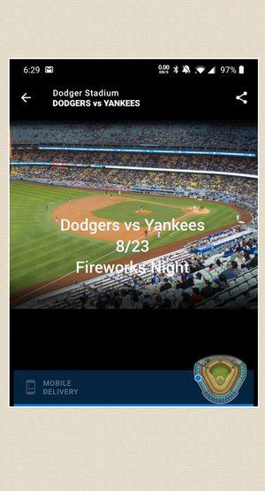 Dodgers vs Yankees, 8/23/19, Fireworks night! for Sale in Redlands, CA