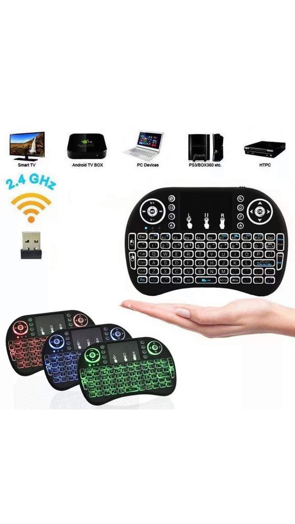 2.4G Backlit Wireless Keyboard Touchpad Rechargeable for Smart TV Box Android PC Computers 💻