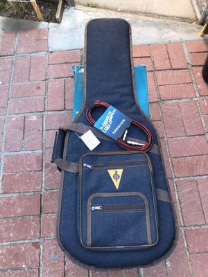 Tweed Bag Electric Guitar blue/brown & guitar cable for Sale in Garden Grove, CA