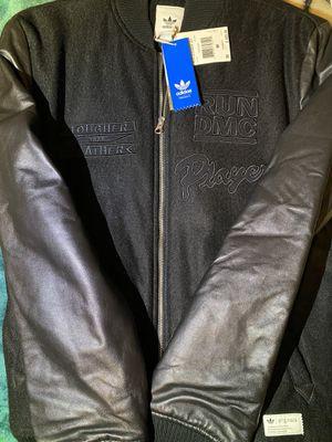 Brand New Men's Adidas Originals x Run DMC Bomber Jacket leather wool for Sale in Ontario, CA