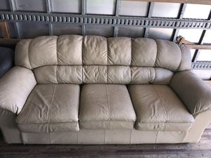 Cream Leather Couch for Sale in Tinton Falls, NJ