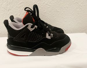Nike Air Jordan Retro 4 OG Bred Black Red Cement TD Kids10c for Sale in San Jose, CA