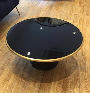 Modern black glass & gold detail round coffee table for Sale in Los Angeles, CA