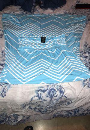 Blue&White long halter dress size large for Sale in Brandon, FL