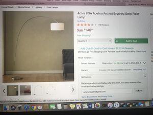 Artiva Brushed Steel Floor Lamp for Sale in Houston, TX