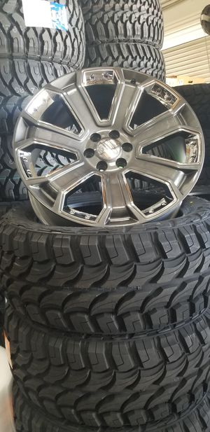 22 GMC Replica wheels Rims sale Hyper black chrome insert set of 4 for Sale in Jurupa Valley, CA