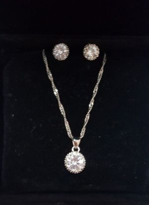 Real silver white cz chain and new earrings de plata for Sale in Houston, TX