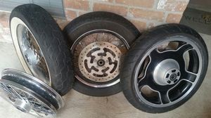 """Three Rims and tires, two 16"""" & one 18"""", Dunlop Harley Davidson Tires, $ 35each set. for Sale in Houston, TX"""