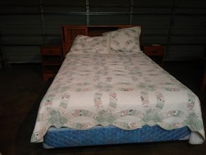 """52""""×75"""" Box spring and Sealy Matress. Headboard and 2 nightstands. for Sale in Tacoma, WA"""