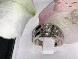 14k white gold engagement and wedding band crew 1 3/4ctw sizes 7 3/4 for Sale in Bowie, MD
