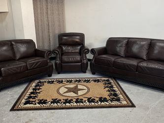 Beautiful Top Grain Leather Set Of Couches With Recliner!! for Sale in Dallas,  TX