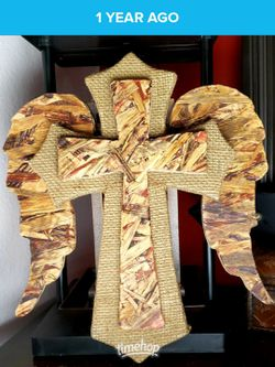 Handcrafted wooden cross with angel wings decor for Sale in Cypress,  TX