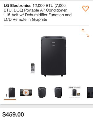 LG Electronics 12,000 BTU (7,000 BTU, DOE) Portable Air Conditioner, 115-Volt w/ Dehumidifier Function and LCD Remote in Graphite for Sale in Plant City, FL