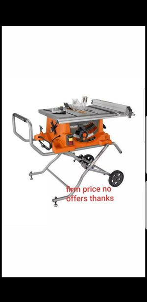 "Ridgid R4513RIDGID 15 Amp 10"" Heavy Duty Portable Table Saw w/ Stand for Sale in UPR MARLBORO, MD"