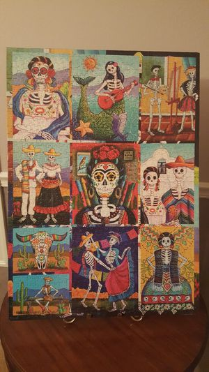 DAY OF THE DEAD PUZZLE MOUNTED ON FOAMBOARD WITH STAND for Sale in Vancouver, WA