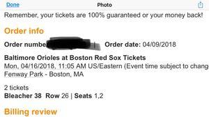 BOSTON RED SOX VS. BALTIMORE ORIOLES MARATHON MONDAY! for Sale in Boston, MA