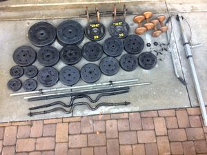 310 lbs of weight, Dumbbells, Barbells, and Pulley Pushdown Attachment for Sale in Rancho Cucamonga, CA