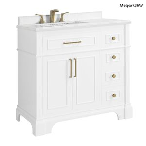 Home Decorators Collection Melpark 36 in. W x 22 in. D Bath Vanity in White with Cultured Marble Vanity Top in White with White Sink for Sale in Dallas, TX