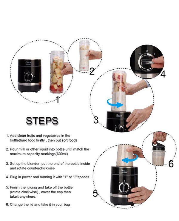 Doctor Hetzner 300W Personal Blender High-Speed Smoothies Maker Juice Blender with a 20oz/600ml Portable Sport Bottle BPA-free Tritan Take-along Jar,