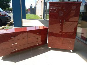 Sangiacomo/Modern Sexy European dresser set, made in ITALY !Rosewood High gloss wood grain lacquer finish..😲 for Sale in Joliet, IL