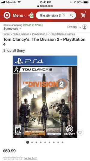 Tom Clancy's: The Division 2 - PlayStation 4 (NEW) for Sale in Sunnyvale, CA