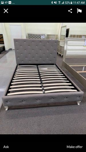 Full Size Bed Frame, Silver Wood Finish Grey Polyfiber for Sale in Santa Ana, CA