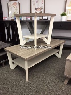 Grace Coffee and End Table, Dark Taupe and Ivory, SKU# ID161602CTTC for Sale in Santa Fe Springs,  CA