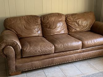 Brown Real Leather Couch for Sale in Tampa,  FL