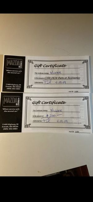 Mazda certificates for Sale in Edmonds, WA