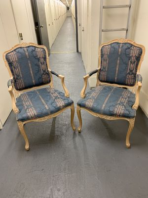 Pair of ornate wood living room chairs for Sale in Fullerton, CA