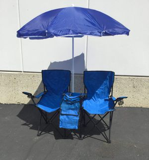Picnic Double Camping Chair w/ Umbrella Cooler for Sale in Ontario, CA