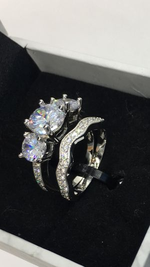 18k gold plated lab diamond 2 set beautiful shiny promise engagement wedding ring for Sale in San Jose, CA