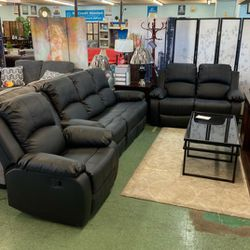 New‼️🎊🎉• SAME DAY Delivery 🥳 3pcs Black Manual Recliner's (Sofa- Loveseat- Recliner) 🚚⚡ • FREE Financing 🔥 NOT CREDIT CHECK ‼️ • Apply Online Now for Sale in Las Vegas,  NV