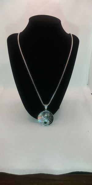 Iced out. 14kt white gold filled 24in rolo chain & yin yang symbol for Sale in Garfield Heights, OH