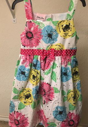 Girls dress (w/flowers& pink/white polka dot ribbon) for Sale in San Antonio, TX