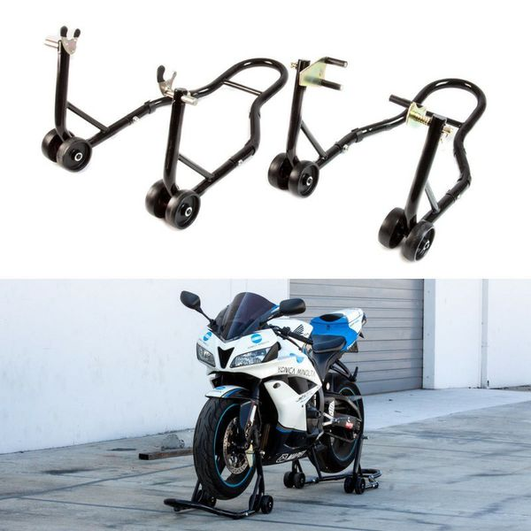 New in box black or red color front and spool lift rear motorcycle sports bike repair maintenance jack stand rack