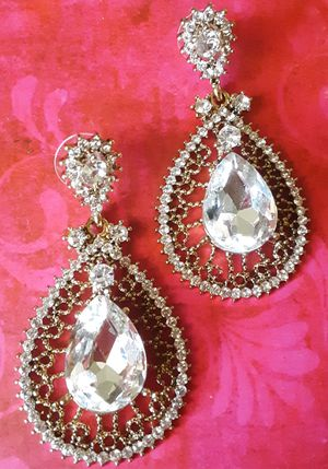 Shipping Only: New lacey goldtone raised faux diamond 2 inch long earrings for Sale in Fullerton, CA