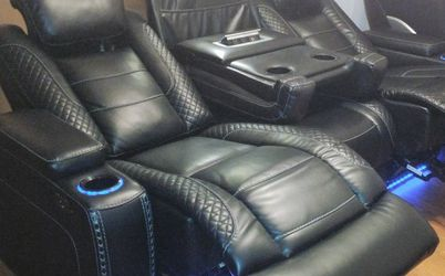 👉Ashley Black LED Power Reclining Sofa👍Apply Financing Online for Sale in Round Rock,  TX