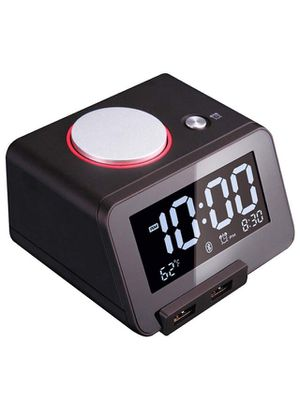 Alarm Clock for Bedrooms with Bluetooth Speaker, 2-Port Universal USB Charger, Large Dimmable LCD Screen, Thermometer, Snooze, Black for Sale in Norco, CA