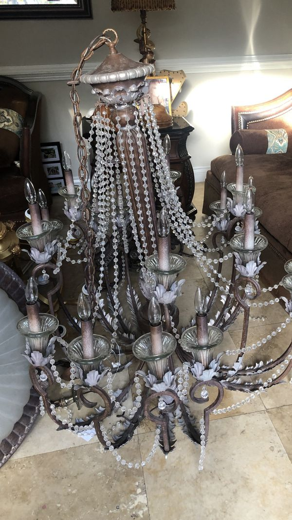 Antique candelabra chandelier with crystal beading