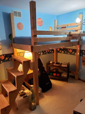 Twin bunk bed with stair case and mattress for Sale in Carol Stream, IL