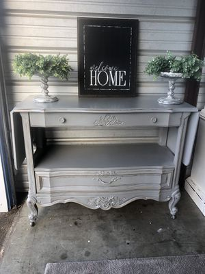 Gorgeous French Grey Server/ tv console/ coffee bar Professionally painted and heavy sealed Tastefully Distressed Very versatile piece can be used for Sale in Murfreesboro, TN