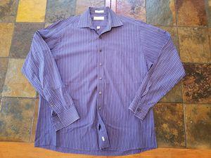 Michael Kors Blue Srtiped Long Sleeve Button Down Mens Shirt Size 17 36/37 XLarge for Sale in Mount Dora, FL