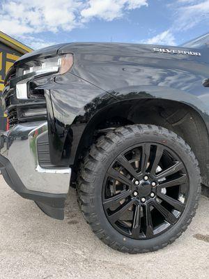 "New 22"" Black Chevy Rims and New 33"" All terrain tires 22 GMC Chevrolet Wheels 22s Silverado Sierra Rines y Llantas Oem factory's factory original Ta for Sale in Dallas, TX"